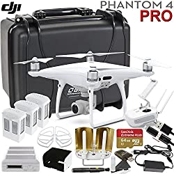 DJI Phantom 4 PRO Executive Bundle: Includes Antenna Range Extenders, SanDisk 64GB Exctreme Pro, Go Professional Wheeled Case, Propeller Guards & More...