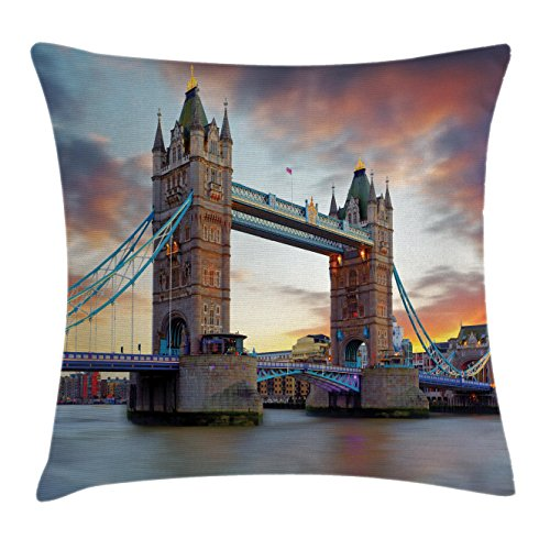 London Decor Throw Pillow Cushion Cover by Ambesonne, The Big Ben and Westminster Bridge at Night in Uk Street River European Photo, Decorative Square Accent Pillow Case, 24 X 24 Inches, Grey Yellow