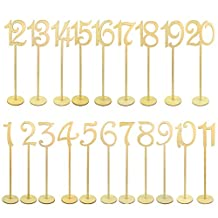 20pcs Table Numbers, Jmkcoz 1 to 20 Wood Wedding Table Numbers with Sturdy Holder Base for Party Home Decoration
