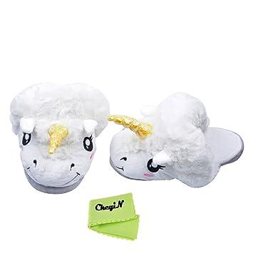 CkeyiN ® ; Felpa Zapatillas de Unicornio para Mujer Babucha Pantufla Felpa