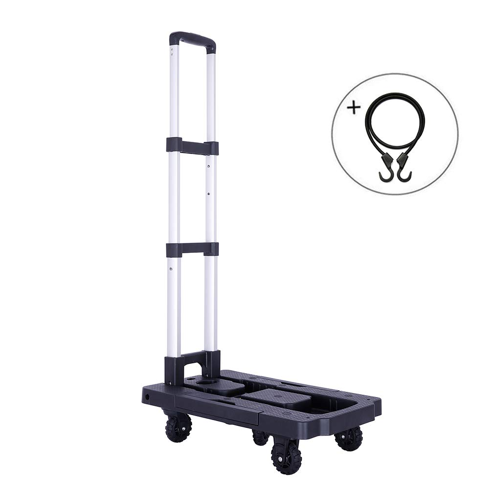 Portable Folding Hand Truck, 300 lbs Heavy Duty 5-Wheel Solid Construction, Collapsible 360° Rotating Platform Cart for Luggage, Personal, Travel, Shopping, Auto, Moving and Office Use (Black)