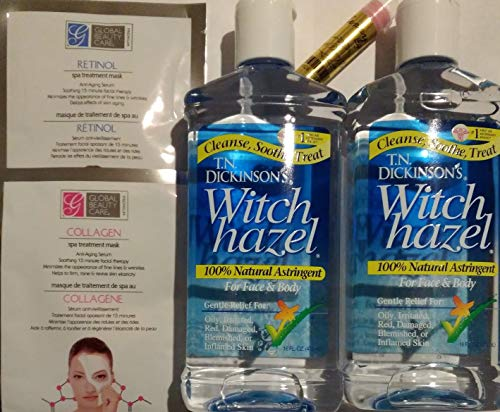 Witch hazel unscented (thayers) alcohol free toner astringent, facial thayers witch hazel (aloe vera gel 100 percent pure) (2 pk) and 2 facial masks Bundle
