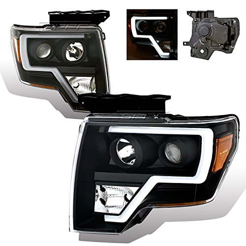 SPPC Black Projector Headlights For Ford F150 (Pair) High/Low Beam Bulb ()
