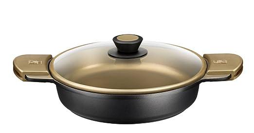 BRA - Cacerola Baja con Tapa de Cristal y Asas de Silicona,Aluminio Fundido con Antiadherente Teflon Select, aptas para Todo Tipo de cocinas incluida ...
