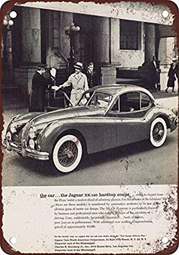 Tefoll Jaguar XK140 Hardtop Coupe Vintage Look Reproduction Metal Tin Signs Retro 8X12 Inches