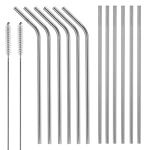 Stainless Steel Straws, X-Chef 10.5 inch Reusable Drinking Straws Set(6 straight and 6 bend) for 20 and 30 OZ Yeti Rtic Tumbler, with 2 Cleaning Brushes
