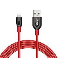 Anker Powerline + Cable Lightning (6 pies) Cable de carga rápida y duradera [Nylon con doble trenzado] para iPhone Xs /XS Max /XR /X /8/8 Plus /7/7 Plus /6/6 Plus /5s /iPad y más (rojo )