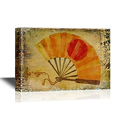 Japanese Culture Canvas Wall Art - Japanese Traditional Fan on Grunge Background - Gallery Wrap Modern Home Art | Ready to Hang - 12x18 inches