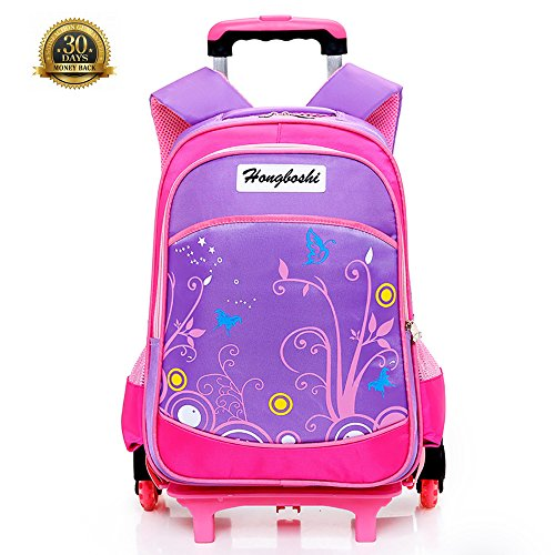 Butterfly Blossom Pattern Rose Red Kids Rolling Backpacks Luggage Wheels Trolley School Bags For Girls, School Bag with 6 Wheels Removable schoolbag Rolling Bag for Girls