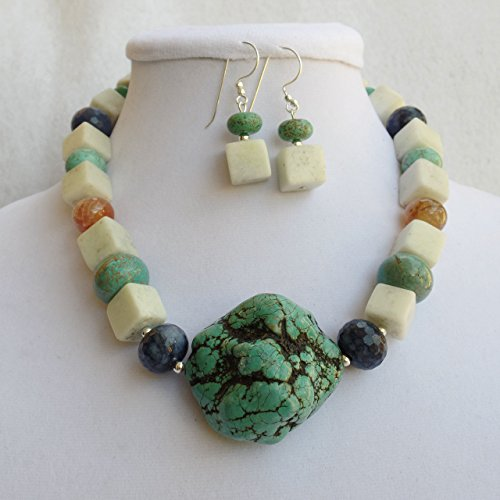 Claire Kern Creations Big Turquoise Nugget Agate Jade Gemstone Necklace Earrings Bracelet