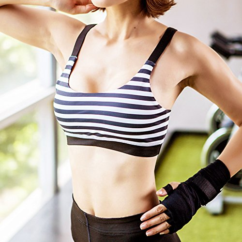 A Prueba De Golpes Sports Bra Mujer Running Fitness Yoga Shaping Reunir Stripe Estilo Chaleco Ropa Interior black and white