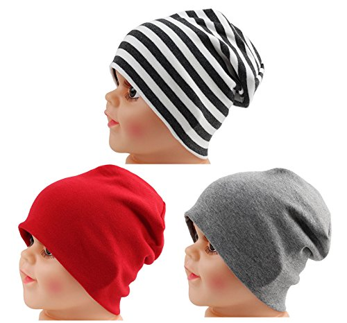 JAKY Global Cotton Kids Beanie Hat for Cute Baby Boy/Girl Toddler Ribbed Knit Children Winter Cap(Red-Grey-Black White(3pcs)