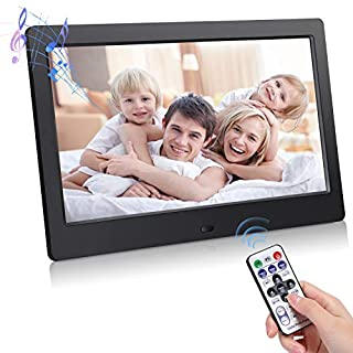 Digital Photo Frame with IPS Screen, Electronic Photo Frame with 1080P Video, Music, Photo, Slide Show, Remote Control, Calendar, Time, 10 Inch 1024 X 600, Support USB/SD/MMC Card(Black)