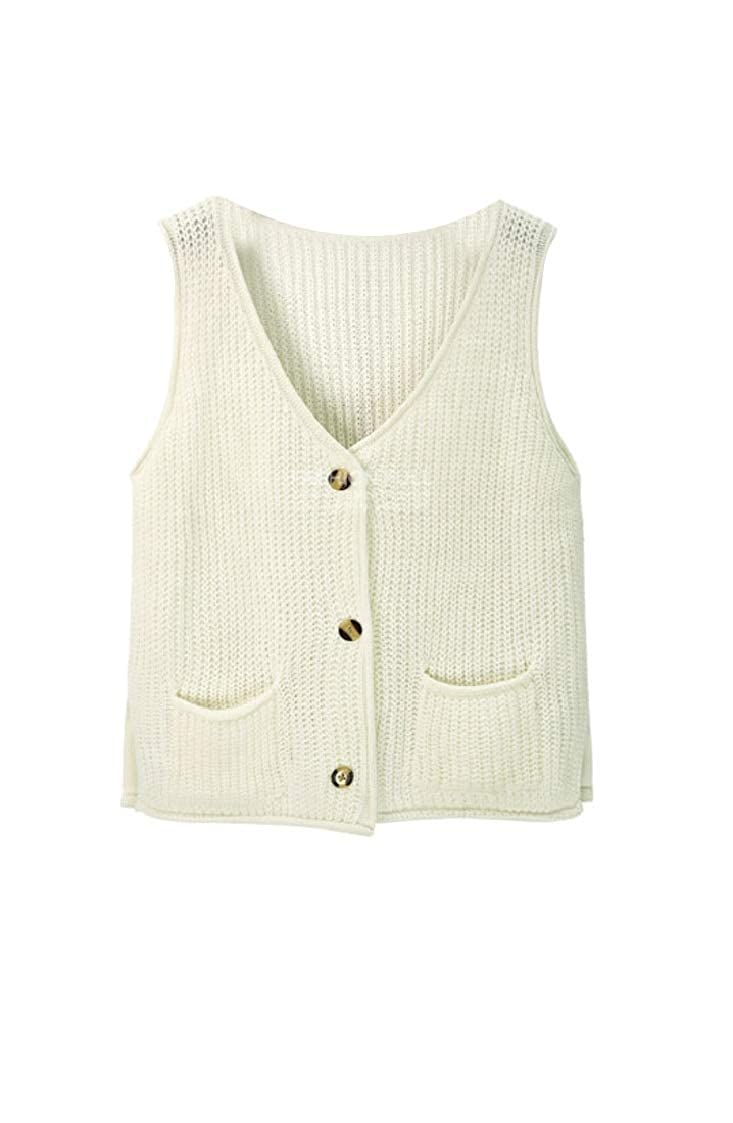 Jaycargogo Womens Sleeveless Knit Vest V Neck Button Up Waistcoat Sweaters