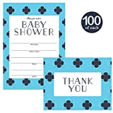 Baby Shower Invitations ( 100 ) & Thank You Cards ( 100 ) Matching Set with Envelopes Classic Blue Boy Design Large Party Mom-to-Be Son Male Gender Fill-In Invites & Folded Thank You Notes Best Value