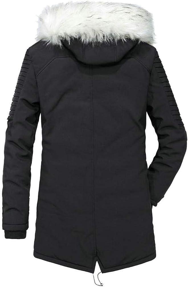 P/&E Men Stylish Hoodid Padded Striped Pocket Zip Fleece Jacket Parka Coat