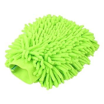 eDealMax chenilla hogar de Cristal de Ventana Muebles limpieza del polvo de microfibra Guante Mitt Verde