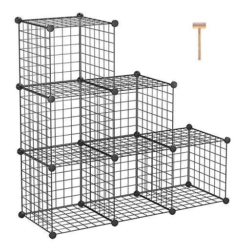 C&AHOME Metal Wire Cube Storage, 6-Cube Shelves Organizer, Stackable Storage Bins, Modular Bookcase, DIY Closet Cabinet Shelf for Home Office 36.6