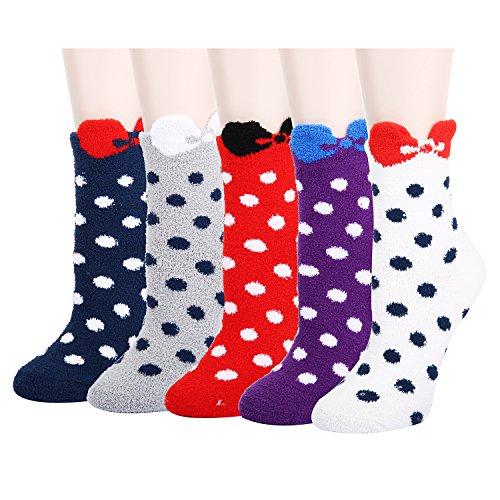 5 Pack Colorful Polka Dot Indoors Anti-Slip Fluffy Fuzzy Slipper Socks,Cozy Crew Winter Socks for Women - Children Diabetic Socks