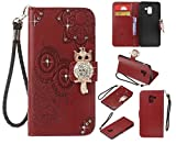 Ostop Glitter Diamond Wallet Samsung Galaxy A8 2018 Case, Red PU Leather Embossed Flower Luxury Stand Purse,3D Owl Bling Rhinestone Crystal Magnetic Closure Flip Cover,Credit Card Holder Shell