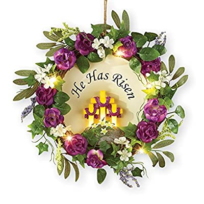 Lighted Easter He is Risen Floral Wreath, Polyester, Rattan, Plastic, Resin