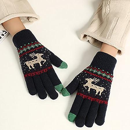 Grey Mackur Winter Reindeer Pattern Gloves Women Men Full Finger Knitted Gloves Touchscreen Gloves Outdoor Windproof Warm Gloves 1 Piece