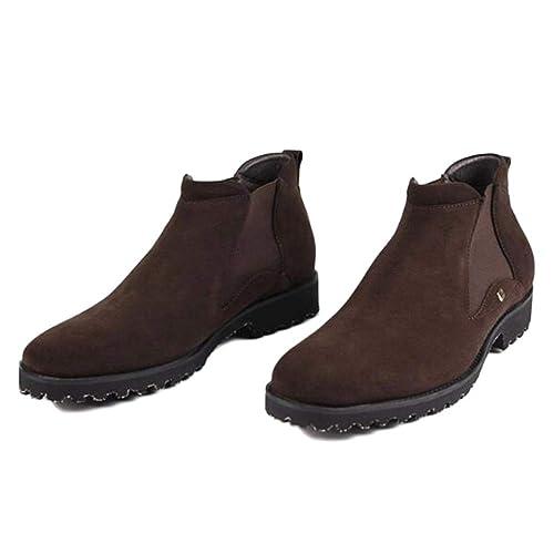 Chelsea Boots Hombres Cuero Negro Oxblood Safety Brogue Classic Botín Botas De Cuero Cuero Botines Zapatos De Tacón Alto,Brown-44: Amazon.es: Zapatos y ...