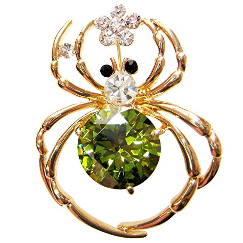 Navachi 18k Gold Plated Green Zircon Crystal Spider Az7228b Brooch - Emerald Brooch 18k