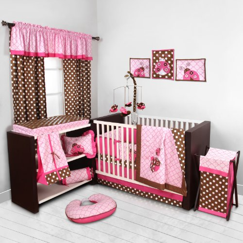 Lady Bugs pink/chocolate 10 pc Crib (Ladybug Hamper Set)