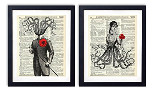 Victorian Octopus Couple - 2 Print Set, Vintage Upcycled Dictionary Art Prints - (2) 8x10 inches each, Unframed