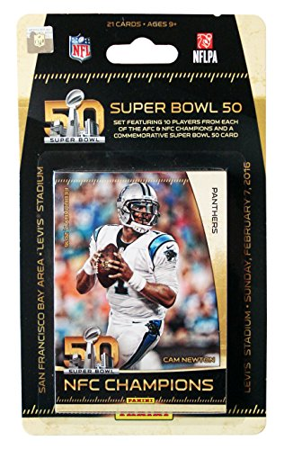 (Carolina Panthers vs Denver Broncos 2016 Panini Super Bowl 50 Commemorative Limited Edition NFL Football Factory Sealed 21 Card Set)