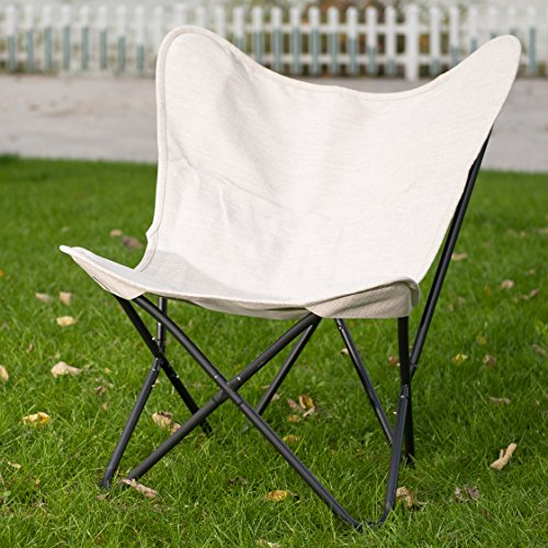 ... PatioPost Outdoor Camping Butterfly Chair With Black Steel  ...
