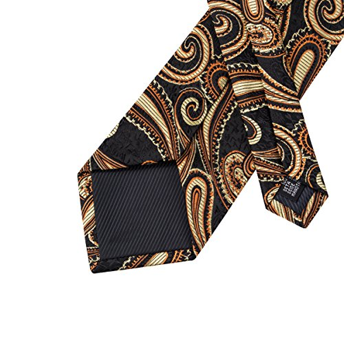 gold Tie Barry Business Paisley Party Woven Silk black1 Formal Wang Men Wedding Floral Neckties gq7nqFRa