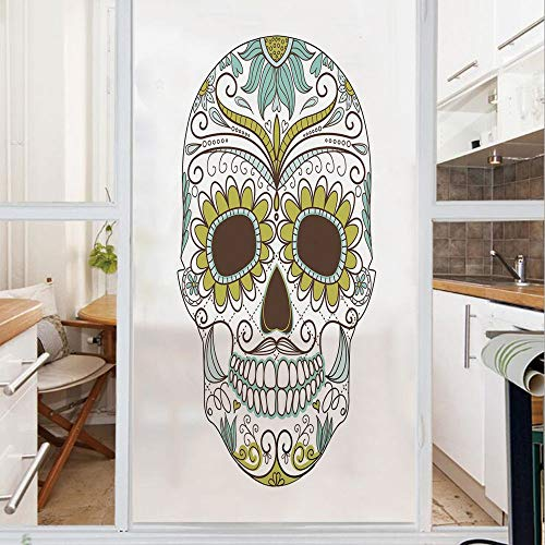 Decorative Window Film,No Glue Frosted Privacy Film,Stained Glass Door Film,Folk Calavera Elements Floral Day of the Dead Theme Figure Decorative,for Home & Office,23.6In. by 59In Apple Green Brown Se