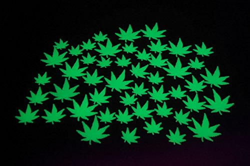 50 Piece Glow In The Dark Marijuana Weed Pot Leafs