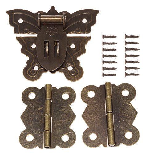 60MM Antique Bronze Butterfly Latch Hasps with 40MM Brass Hinges and Screws for Wooden Jewelry Box Cabinet Decorative -