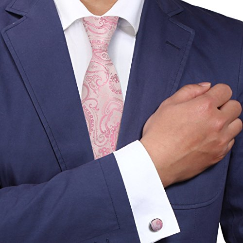 Y&G A2012 Light Pink Great Patterned Adults Day Presents One Size Evening Gift Ideas Silk Ties Cufflinks Set 2PT
