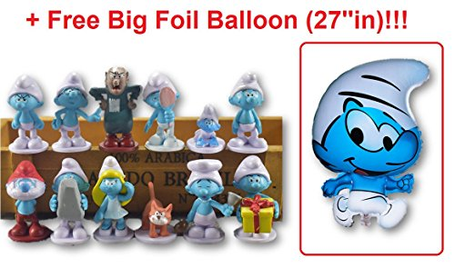 Smurfs Figurine (12 pcs Smurfs The Lost Village Movie Set Toy Figurines + A Free Big Foil Smurf Balloon | Great as Cake Toppers and Birthday Decorations)