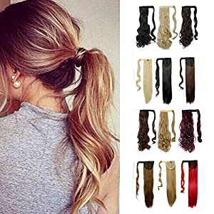 Wrap Around Synthetic Ponytail Clip in Hair Extensions One Piece Magic Paste Pony Tail Long Curly Wavy Soft Silky for Women Fashion and Beauty 17'' / 17 inch (light brown mix ash blonde)