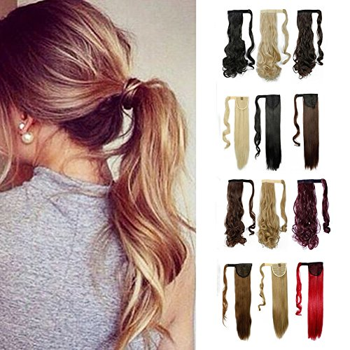 Ponytail Extension Hair (Wrap Around Synthetic Ponytail Clip in Hair Extensions One Piece Magic Paste Pony Tail Long Curly Wavy Soft Silky for Women Fashion and Beauty 17'' / 17 inch (light brown mix ash blonde))