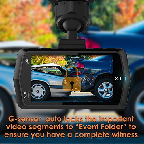 VANTRUE X1 Dash Cam Full HD 1920x1080P Car Camera 170° Wide Angle 2.7″ LCD Car Video Recorder with Super Night Vision, Parking Mode, Motion Detection, Loop Recording, HDR, G-Sensor, Audio Recording