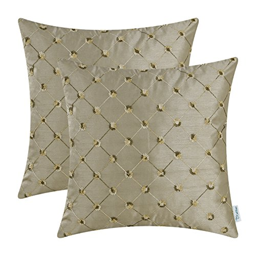 Pack of 2 CaliTime Cushion Covers Throw Pillow Cases Shells for Home Sofa Couch 18 X 18 Inches, Modern Diamonds Shape Geometric Chain Embroidered, (Chain Plaid Cover)