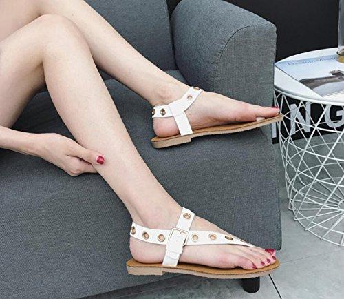 de caseros Blanco con Mujer Sandalias Zapatos para de Plano Sandalias PU Remaches tacón Zapatillas Moda DANDANJIE Verano con y Chanclas Zapatos HRXwqfEH