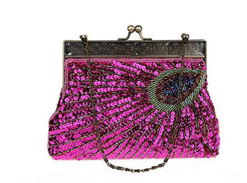 Bag Beaded Evening Women Bag Peacock Vintage Party Qipao Bag Clutch Rosered Pop Bag Dinner FZHLY qtnRvHzzw