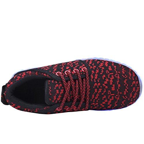 Coodo Heren Dames Led-schoenen Voor Heren 7-kleuren-verlichting Usb-oplaadverlichting Sneakers Rood