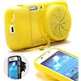 GMYLE(R) Yellow TPU Protective Soft Case with Camera Lens Cover for Samsung Galaxy S4 Zoom SM-C1010, SM-C101