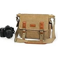 Lavievert Canvas & Genuine Leather SLR DSLR Camera Bag Messenger Shoulder Bag with Shockproof Padded Tank Bag for Digital Cameras, Tablets, Phones, Video Recorder Photography - Khaki