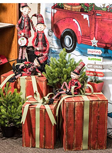 Sullivans Christmas Elf Figurines, Whimsical Adjustable Elves, Large, Red and Black, Set of 2 PN2801