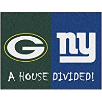 Fanmats NFL House Divided - Packers/Giants Rug, 34 x 45/Small, Black
