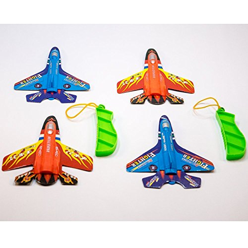 TukTek Kids First 4 Pack Toy Flying Fighter Jets for 2 Players Rubber Band Propelled Airplane Gliders for Boys & - Rubber Fighter Band